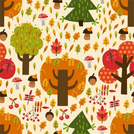 Seamless autumn pattern with trees, mushrooms, leaves, berries Vector