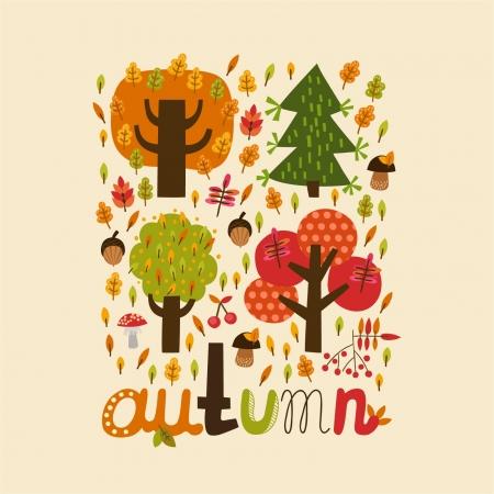 Ð¡olorful autumn card Vettoriali