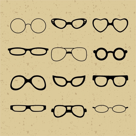 Set of different glasses on the background of retro Vector