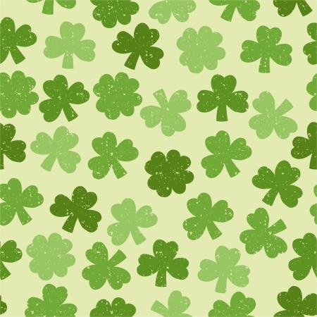 Green seamless clover pattern