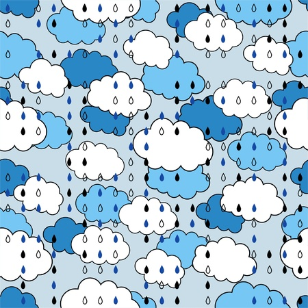 Seamless pattern with clouds and rain, the weather Illustration