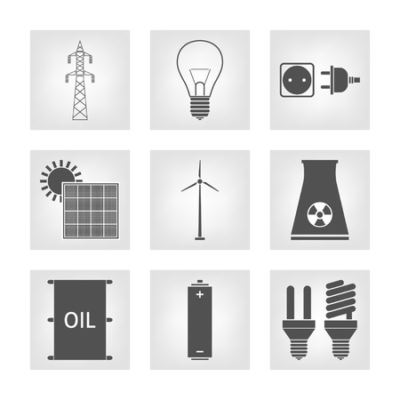 Energy, electricity icons Vector