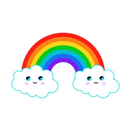 Illustration d'un arc en ciel avec les nuages ??fun