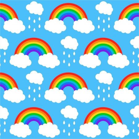 Seamless pattern with rainbows and clouds on a blue background Vector