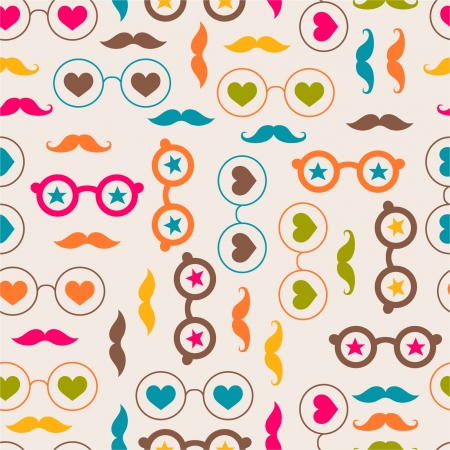 Seamless background with color glasses and mustache Vector