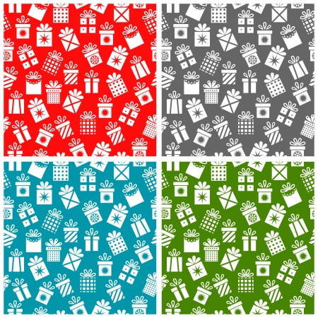 Set Christmas patterns with gift boxes  Vector