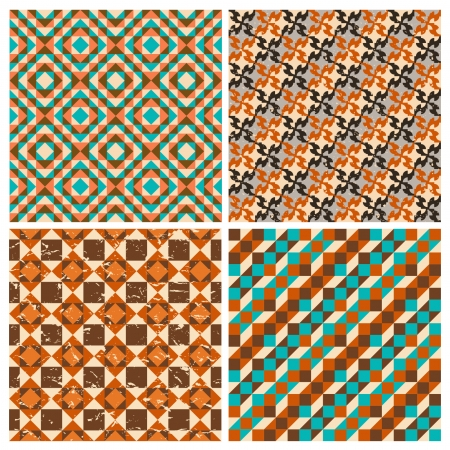 Set of seamless geometric retro patterns Vector