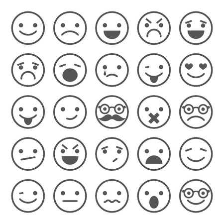Set smileypictogrammen verschillende emoties Stock Illustratie