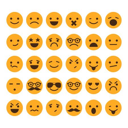 persona feliz: Conjunto de diferentes emoticonos vector