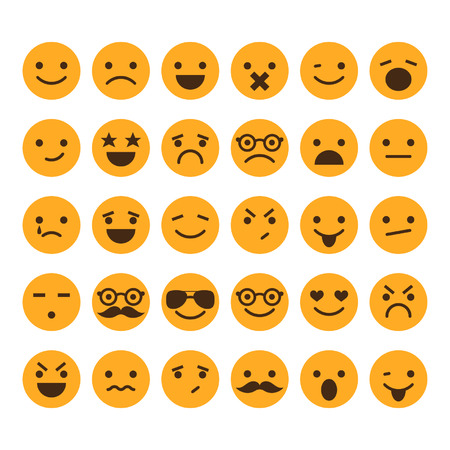 cartoon face: Set of different smileys vector