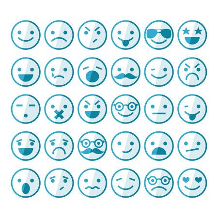 Conjunto de emoticonos de diferentes emociones y estados de ánimo Ilustración de vector