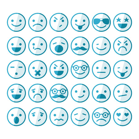 Set of smileys in different emotions and moods Illustration