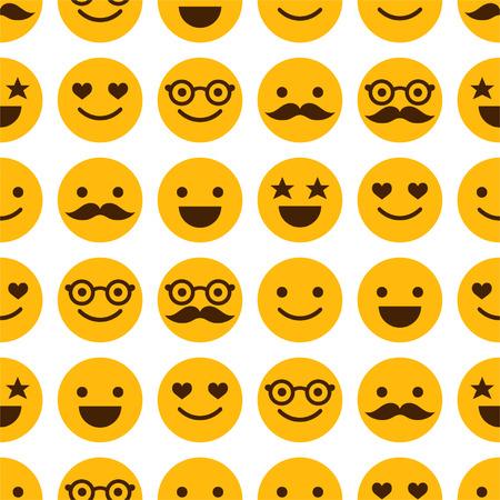 Naadloos patroon met vrolijke en gelukkige smileys Stock Illustratie