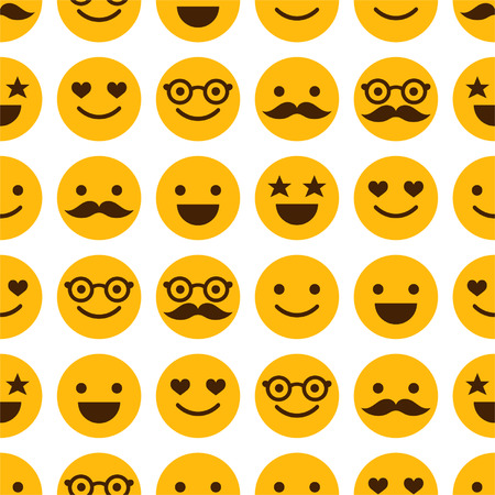 Seamless pattern with cheerful and happy smileys