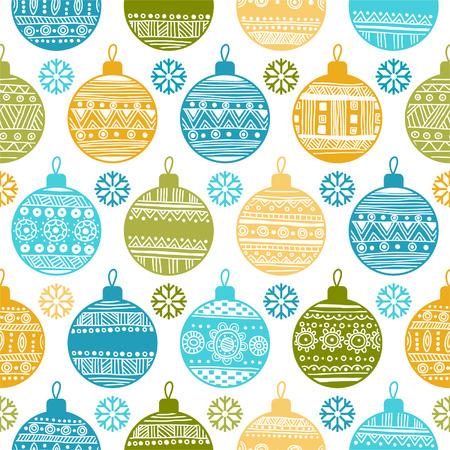Naadloze patroon met Kerst ballen en sneeuwvlokken