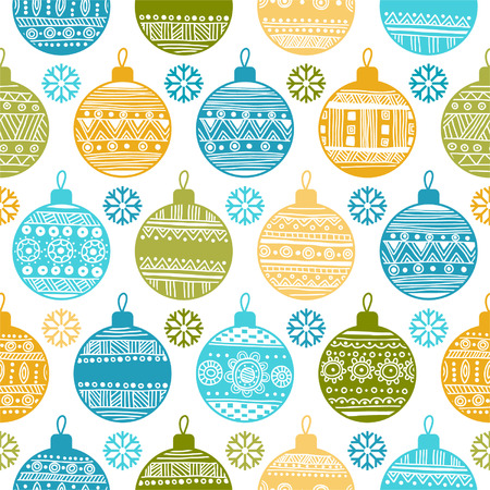 Seamless pattern with Christmas balls and snowflakes Stock Vector - 24019316