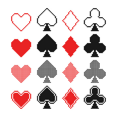 Set of pixel hearts, clubs, spades and diamonds icons, card suit Vector