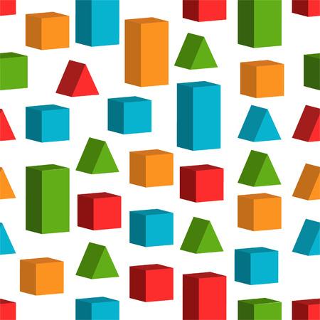 Naadloze achtergrond met speelgoed blokjes Stock Illustratie