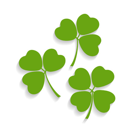 Illustration of shamrocks and the four leaf clover with shadow isolated on background Illustration
