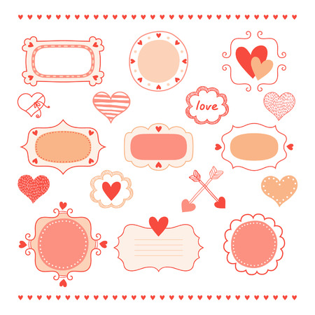 Set romantic frames and hearts Stock Vector - 24440981