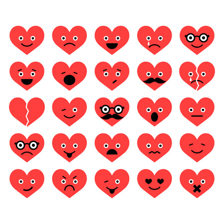 Set of Valentine hearts smiles in different emotions Stock Vector - 24620509