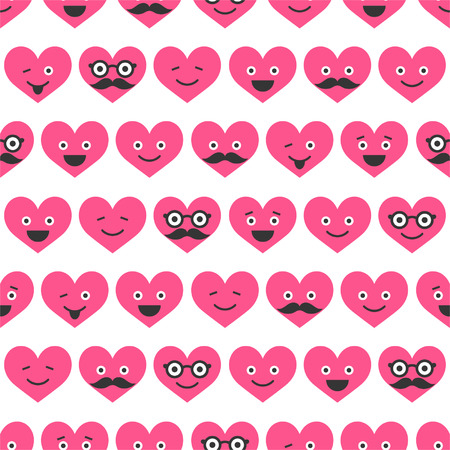 Seamless pattern with Valentine hearts smiles Stock Vector - 24620511