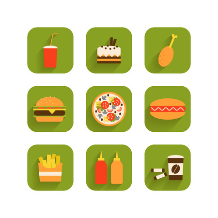 Set of icons of fast food
