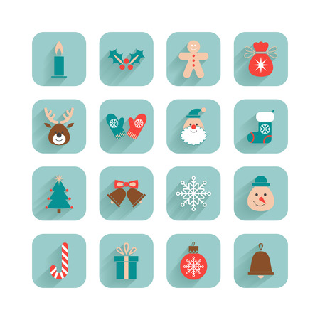 Christmas set different icons Vector