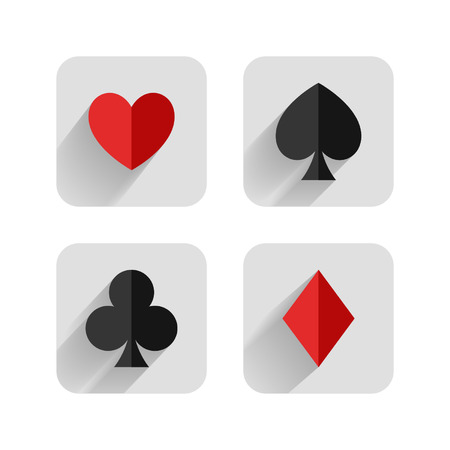 Set of hearts, clubs, spades and dimonds icons, card suit Vector