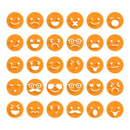 caras de emociones: Conjunto de iconos sonrientes Vectores