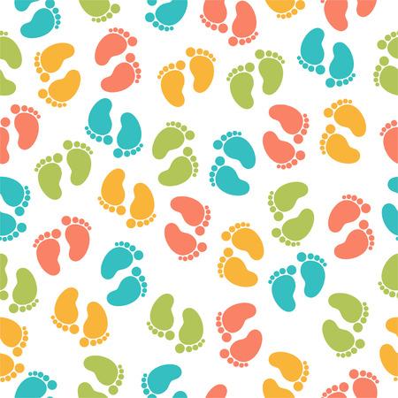 Naadloos patroon met babyvoetafdruk Stock Illustratie