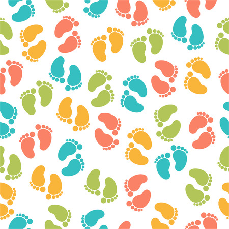 Seamless pattern with baby footprint
