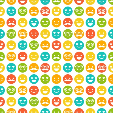 happy black man: Seamless pattern with color smileys Illustration