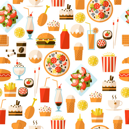 fast food restaurant: Seamless pattern with fast food and drink