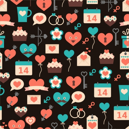 Seamless pattern for Valentine s day on dark background Stock Vector - 24971414
