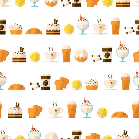 Seamless pattern with dessert and drinks Vector