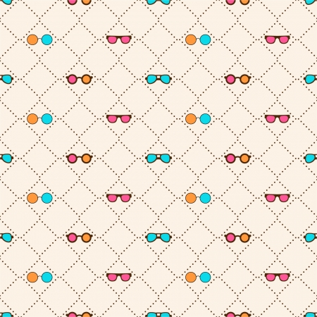 Seamless pattern with color sun glasses