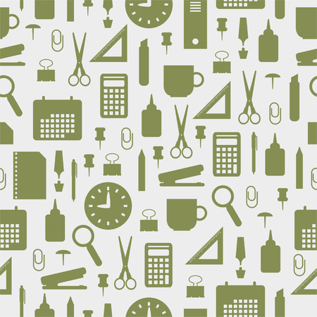 Seamless pattern with office stationery icons Vector