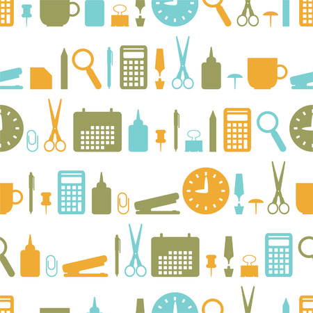 Seamless background with office stationery icons Vector