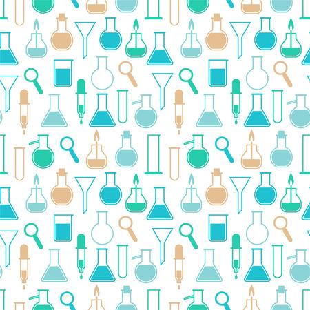 Seamless pattern with laboratory equipment