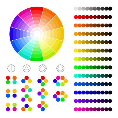 Kleurenwiel met schaduw van kleuren, kleuren harmonie