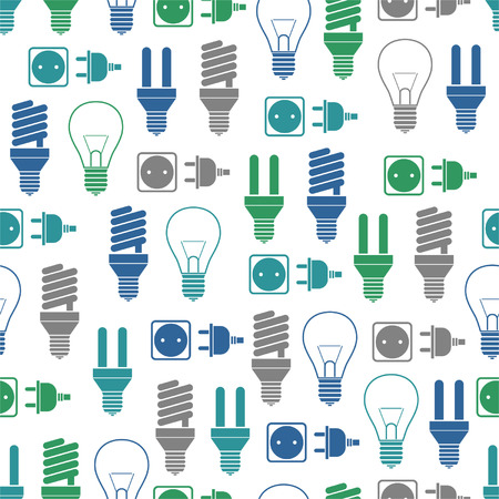 Seamless pattern with bulbs and socket Illustration