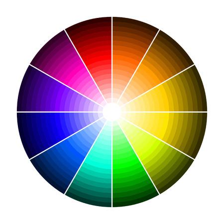 색상의 그늘과 색상 휠 일러스트