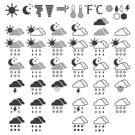 Weather icons on a white background Vector
