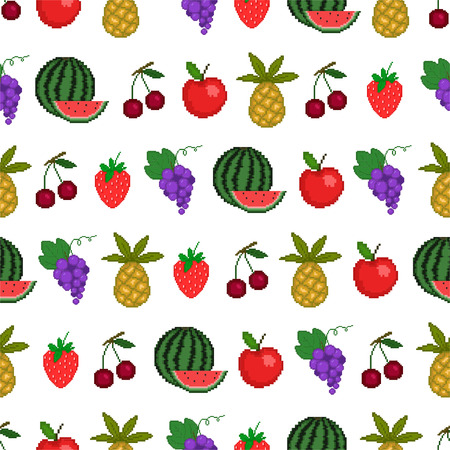 Seamless pattern of fruit, background with style pixel-art Vector