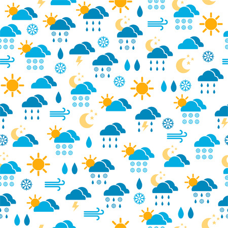 Seamless pattern of weather icons, endless background of clouds, sun, rain Illustration