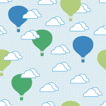 Seamless pattern of hot air balloons and clouds in the sky, endless background  Vector
