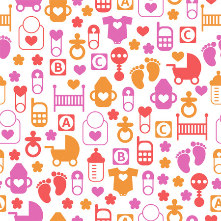Seamless baby pattern, endless background of baby icons Vector