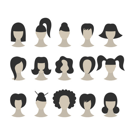 Set of black hairstyles for woman isolated on white background Vector