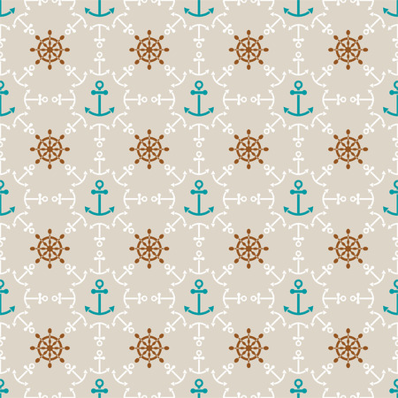 Seamless sea background of anchors and hand wheels, endless pattern Vector
